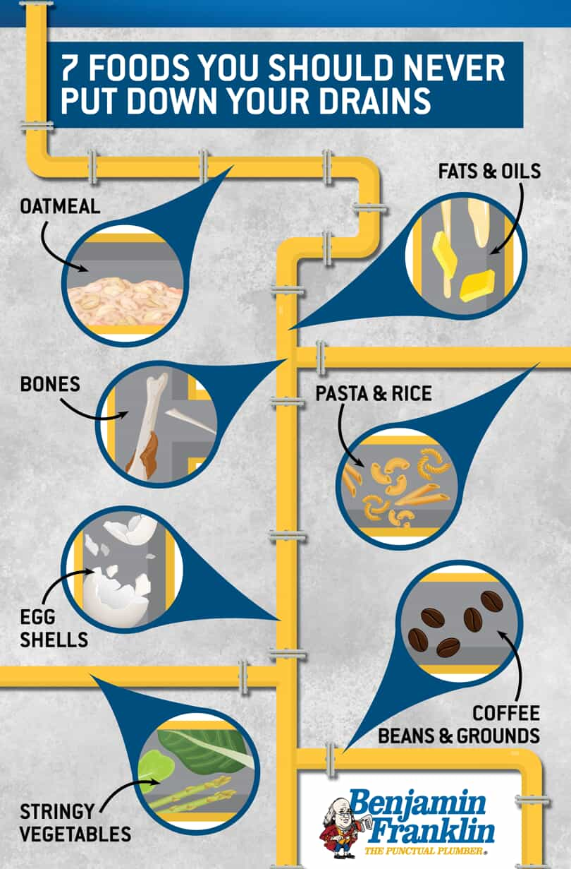 infographic depicting seven foods that should not go down the drain