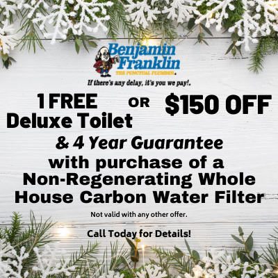 1 free or $150 Off deluxe toilet and 4 year guarantee with a non-regenerating whole house carbon water filter
