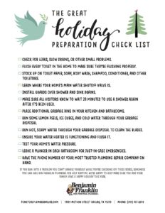 Holiday Plumbing Preparation Checklist