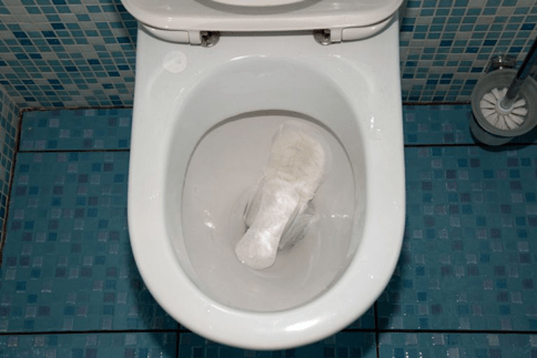 a picture of garbage in the toilet